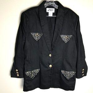 80's JENJEN by Darian Black Gold Cotton Blazer L